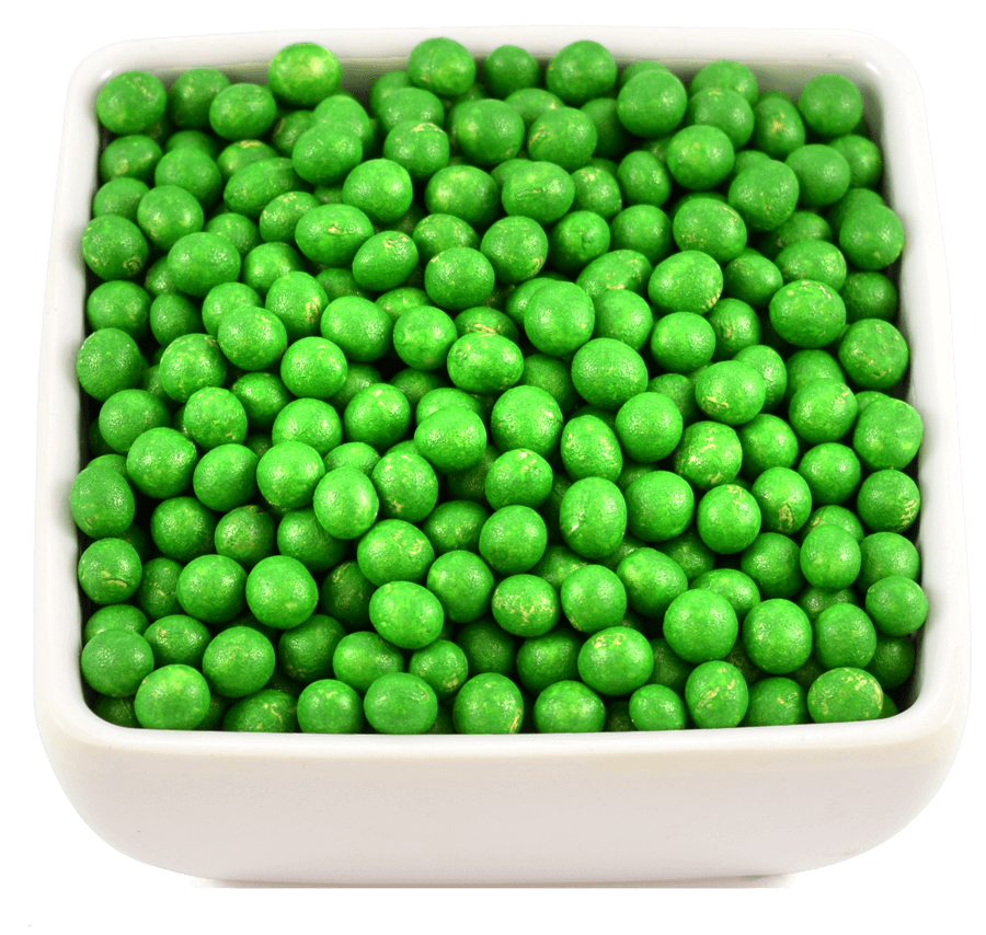 A dish of bright green coated soybeans