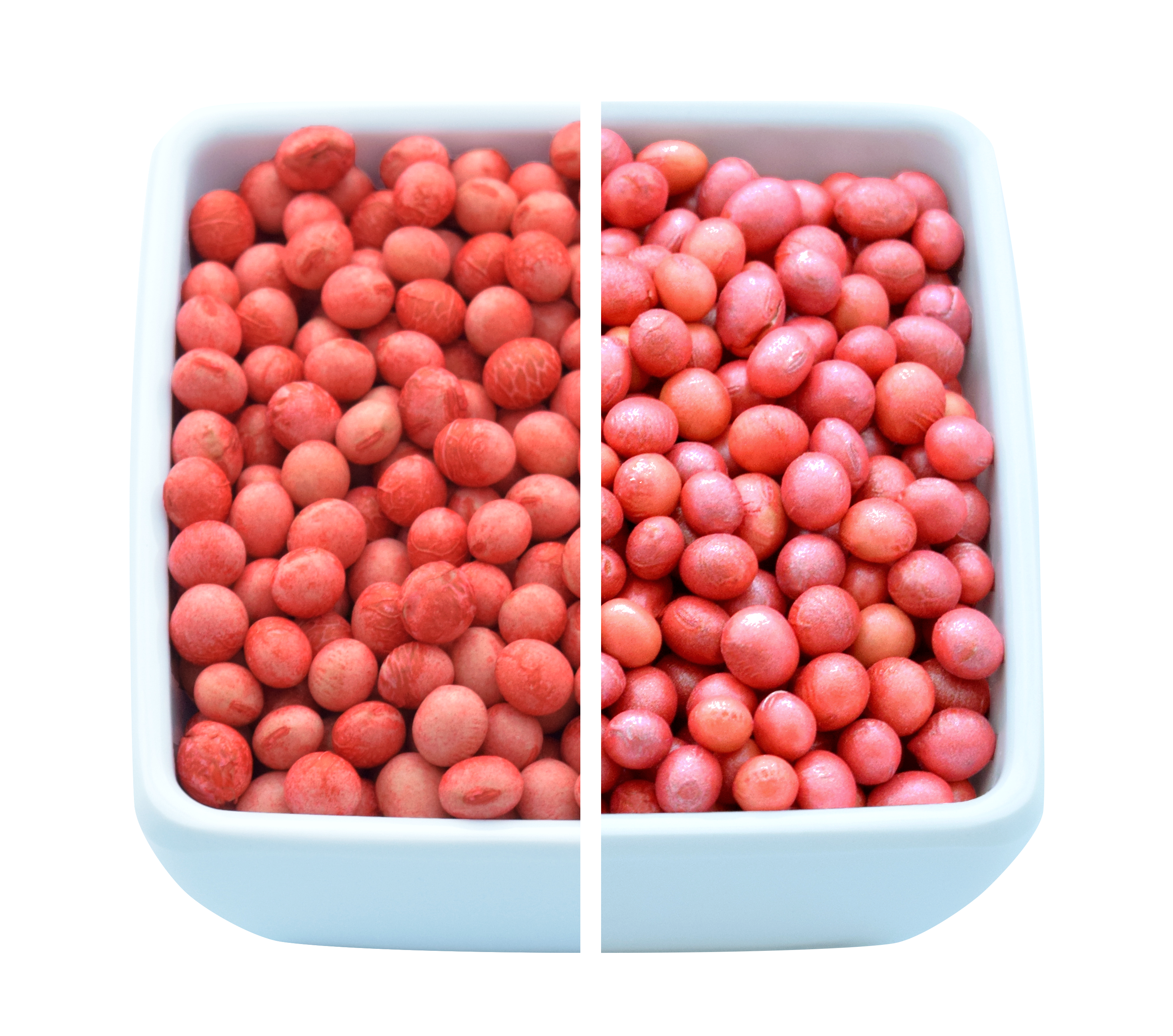 Red Soybeans before and after PearlMaxx